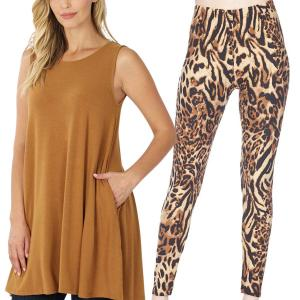 Wholesale  COFFEE Sleeveless Tunic Set - 9926 - Medium