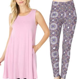 Wholesale  MAUVE Sleeveless Tunic Set - 9926 - Medium