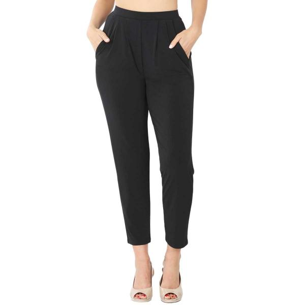 Wholesale Ity Pleated Waist Pants w/ Side Pockets 10019 BLACK Ity Pleated Waist Pants w/ Side Pockets 10019 - Large