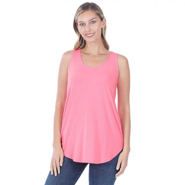 Wholesale Tops - Sleeveless Round Hem Solids 2100 BRIGHT PINK Sleeveless Round Hem Top 2100 - Small