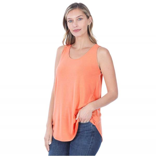 Wholesale Tops - Sleeveless Round Hem Solids 2100 CORAL Sleeveless Round Hem Top 2100 - Small