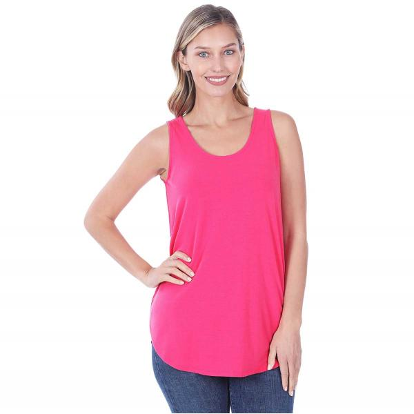 Wholesale Tops - Sleeveless Round Hem Solids 2100 FUCHSIA Sleeveless Round Hem Top 2100 - Small
