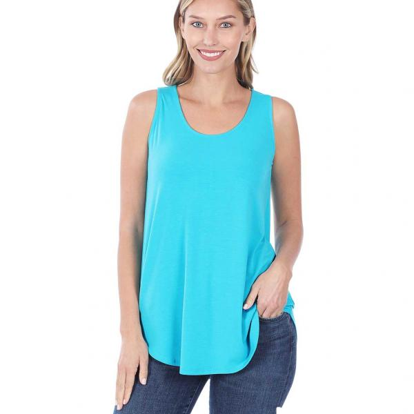 Wholesale Tops - Sleeveless Round Hem Solids 2100 ICE BLUE Sleeveless Round Hem Top 2100 - Small