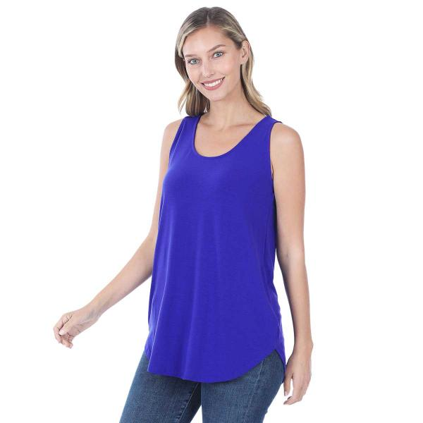 Wholesale Tops - Sleeveless Round Hem Solids 2100 BRIGHT BLUE Sleeveless Round Hem Top 2100 - Large