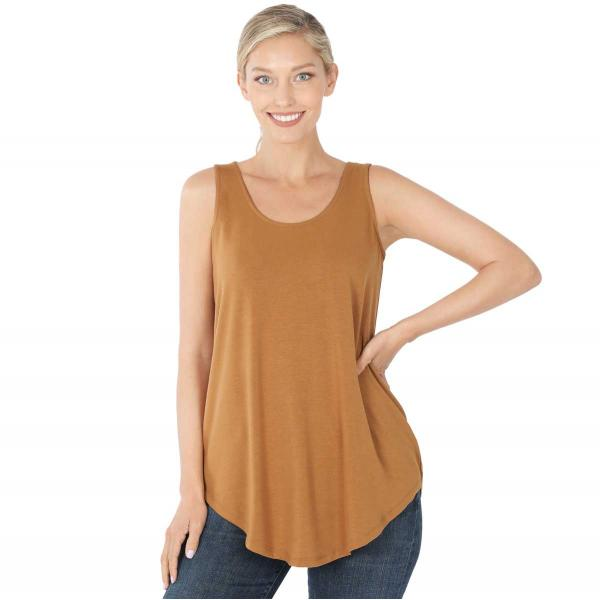 Wholesale Tops - Sleeveless Round Hem Solids 2100 COFFEE Sleeveless Round Hem Top 2100 - Small