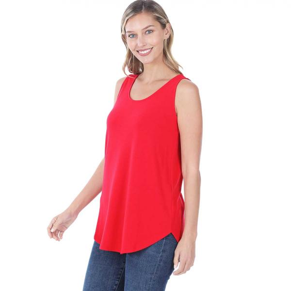 Wholesale Tops - Sleeveless Round Hem Solids 2100 RUBY Sleeveless Round Hem Top 2100 - Large