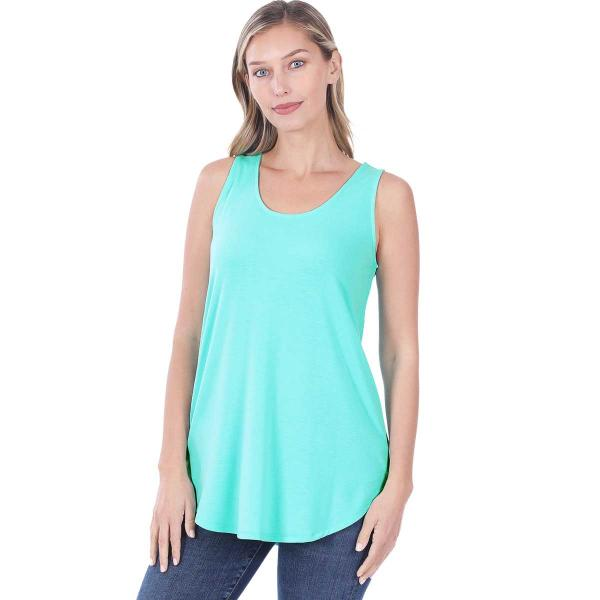 Wholesale Tops - Sleeveless Round Hem Solids 2100 MINT Sleeveless Round Hem Top 2100 - Large