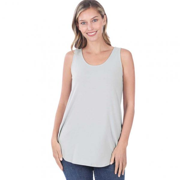 Wholesale Tops - Sleeveless Round Hem Solids 2100 LIGHT GREY Sleeveless Round Hem Top 2100 - Large