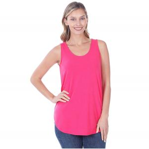 Wholesale  FUCHSIA Sleeveless Round Hem Top 2100 - Large