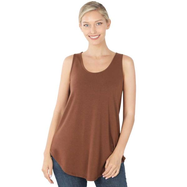 Wholesale Tops - Sleeveless Round Hem Solids 2100 LIGHT BROWN Sleeveless Round Hem Top 2100 - Large