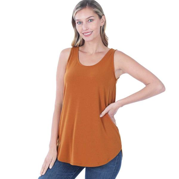 Wholesale Tops - Sleeveless Round Hem Solids 2100 ALMOND Sleeveless Round Hem Top 2100 - Large