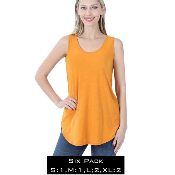 Wholesale Tops - Sleeveless Round Hem Solids 2100  GOLDEN MUSTARD SIX PACK Sleeveless Round Hem Top 2100 - 1 Small 1 Medium 2 Large 2 Extra Large