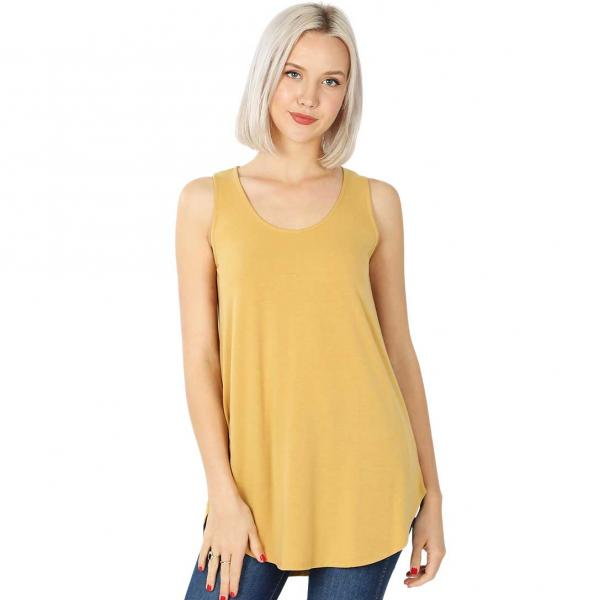 Wholesale Tops - Sleeveless Round Hem Solids 2100 LIGHT MUSTARD Sleeveless Round Hem Top 2100 - Small