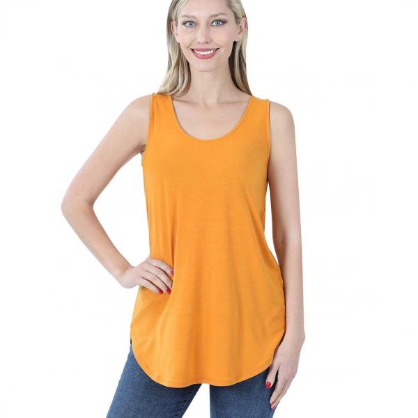Wholesale Tops - Sleeveless Round Hem Solids 2100 GOLDEN MUSTARD Sleeveless Round Hem Top 2100 - Small