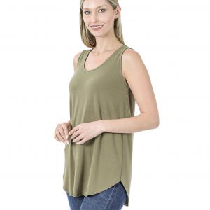Tops - Sleeveless Round Hem Solids 2100 KHAKI Sleeveless Round Hem Top 2100 - Small
