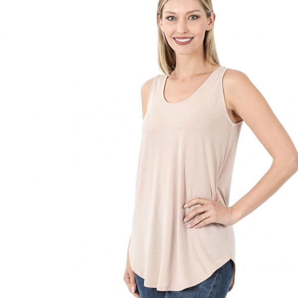 Wholesale Tops - Sleeveless Round Hem Solids 2100 DUSTY BLUSH Sleeveless Round Hem Top 2100 - Large