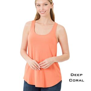 Wholesale  DEEP CORAL Sleeveless Round Hem Top 2100 - Small