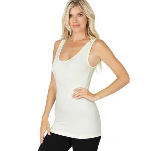Wholesale  IVORY Scoop Neck Seamless Tank Top 6700 -