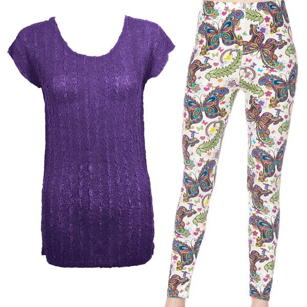 Wholesale Sets- Georgette Tunic with Leggings (GCST) PURPLE Cap Sleeve Georgette Tunic with Leggings - One Size  Fits (S-M)