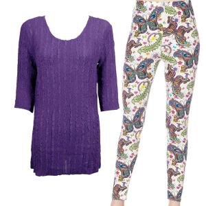 Wholesale  PURPLE Three Quarter Sleeve Georgette Tunic with Leggings - One Size  Fits (S-M)