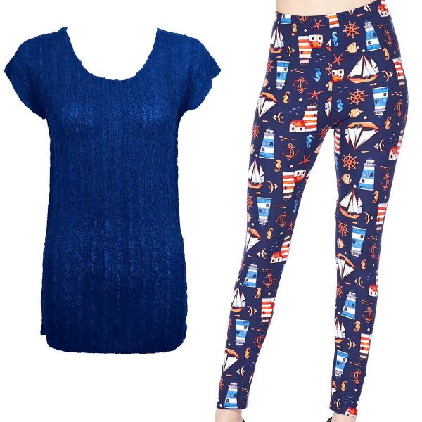 Wholesale Sets- Georgette Tunic with Leggings (GCST) ROYAL #1 Cap Sleeve Georgette Tunic with Leggings - ONE SIZE FITS  L-XL)