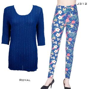 Wholesale  ROYAL Three Quarter Sleeve Georgette Tunic with Leggings - One Size  Fits (S-M)