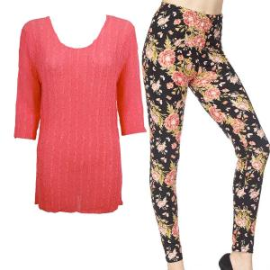 Wholesale  CORAL Three Quarter Sleeve Georgette Tunic with Leggings - One Size  Fits (S-M)