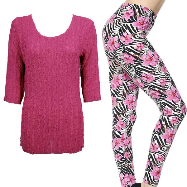 Wholesale Sets- Georgette Tunic with Leggings (GCST) MAGENTA #1 Three Quarter Sleeve Georgette Tunic with Leggings - ONE SIZE FITS  L-XL)