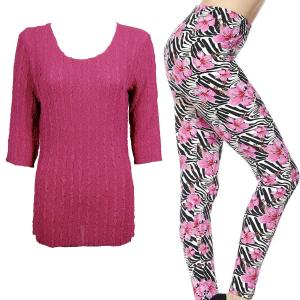 Wholesale  MAGENTA #1 Three Quarter Sleeve Georgette Tunic with Leggings - S-M