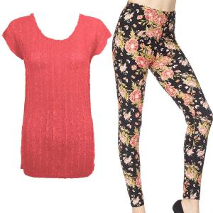 Wholesale  CORAL Cap Sleeve Georgette Tunic with Leggings - One Size  Fits (S-M)