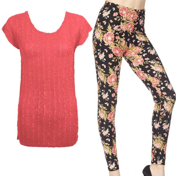 Wholesale Sets- Georgette Tunic with Leggings (GCST) CORAL Cap Sleeve Georgette Tunic with Leggings - One Size  Fits (S-M)