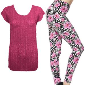 Wholesale  MAGENTA #1 Cap Sleeve Georgette Tunic with Leggings - ONE SIZE FITS  L-XL)