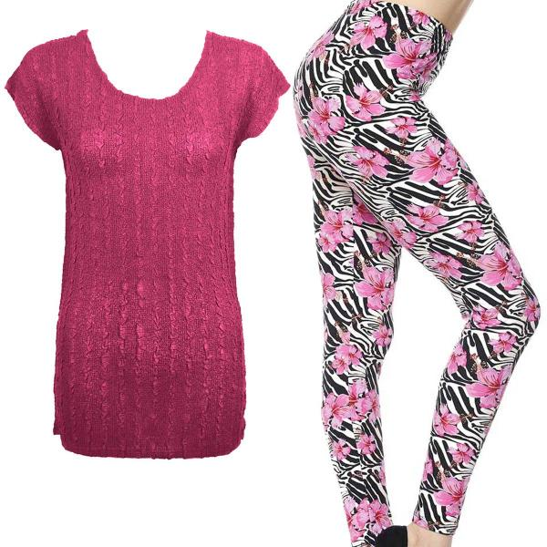 Wholesale Sets- Georgette Tunic with Leggings (GCST) MAGENTA #1 Cap Sleeve Georgette Tunic with Leggings - ONE SIZE FITS  L-XL)