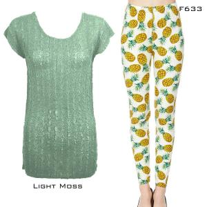 Wholesale  LIGHT MOSS Cap Sleeve Georgette Tunic with Leggings - One Size  Fits (S-M)