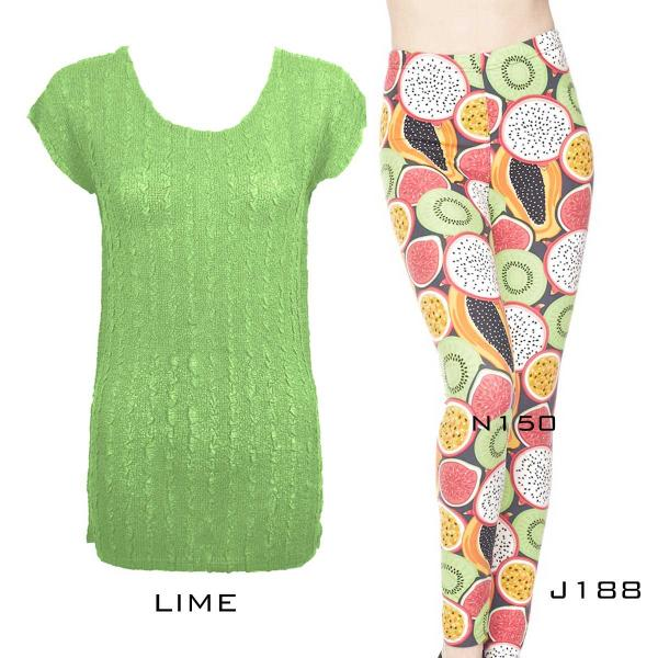 Wholesale Sets- Georgette Tunic with Leggings (GCST) LIME Cap Sleeve Georgette Tunic with Leggings - One Size  Fits (S-M)