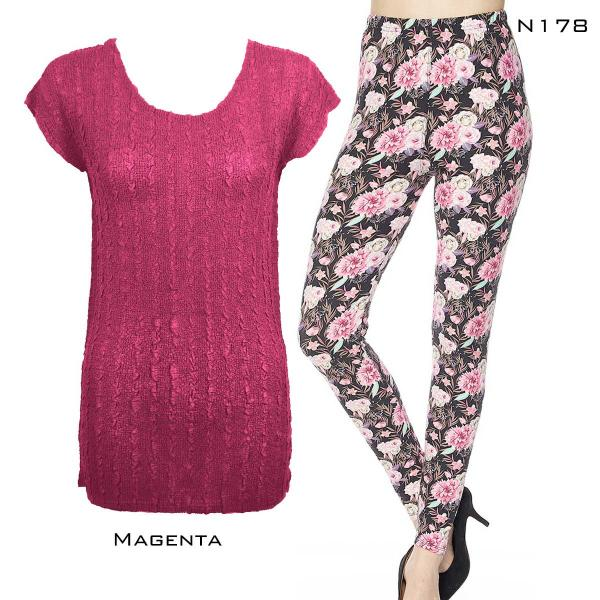Wholesale Sets- Georgette Tunic with Leggings (GCST) MAGENTA #2 Cap Sleeve Georgette Tunic with Leggings - One Size  Fits (S-M)