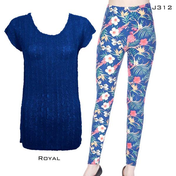 Wholesale Sets- Georgette Tunic with Leggings (GCST) ROYAL #2 Cap Sleeve Georgette Tunic with Leggings - One Size  Fits (S-M)