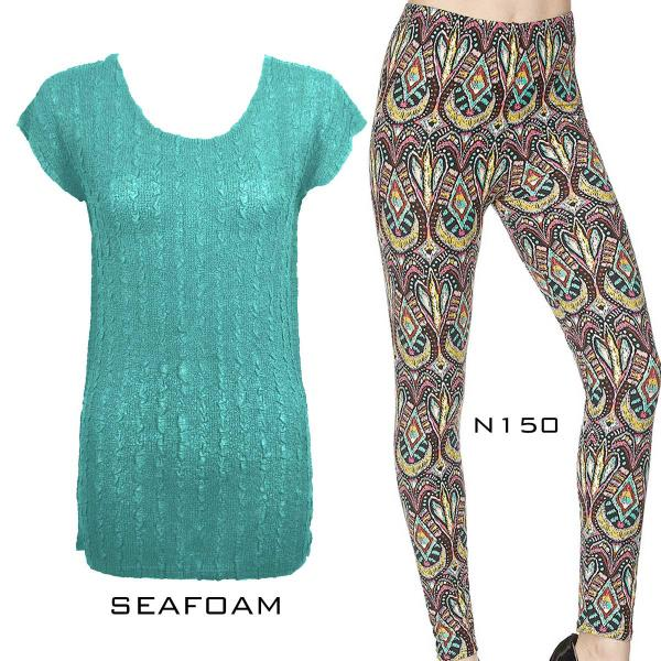 Wholesale Sets- Georgette Tunic with Leggings (GCST) SEAFOAM Cap Sleeve Georgette Tunic with Leggings - One Size  Fits (S-M)