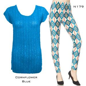 Wholesale  CORNFLOWER BLUE Cap Sleeve Georgette Tunic with Leggings - ONE SIZE FITS  L-XL)