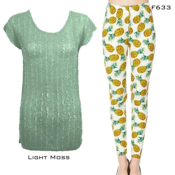 Wholesale Sets- Georgette Tunic with Leggings (GCST) LIGHT MOSS Cap Sleeve Georgette Tunic with Leggings - ONE SIZE FITS  L-XL)