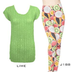 Wholesale  LIME Cap Sleeve Georgette Tunic with Leggings - ONE SIZE FITS  L-XL)