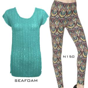 Wholesale  SEAFOAM Cap Sleeve Georgette Tunic with Leggings - ONE SIZE FITS  L-XL)