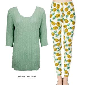 Wholesale  LIGHT MOSS Three Quarter Sleeve Georgette Tunic with Leggings - ONE SIZE FITS  L-XL)