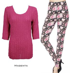 Wholesale  MAGENTA #2 Three Quarter Sleeve Georgette Tunic with Leggings - ONE SIZE FITS  L-XL)