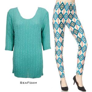 Wholesale  SEAFOAM Three Quarter Sleeve Georgette Tunic with Leggings - ONE SIZE FITS  L-XL)