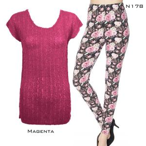 Wholesale  MAGENTA #2 Cap Sleeve Georgette Tunic with Leggings - ONE SIZE FITS  L-XL)
