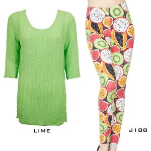 Wholesale  LIME Three Quarter Sleeve Georgette Tunic with Leggings - ONE SIZE FITS  L-XL)