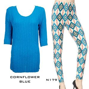Wholesale  CORNFLOWER BLUE Three Quarter Sleeve Georgette Tunic with Leggings - ONE SIZE FITS (L-XL)