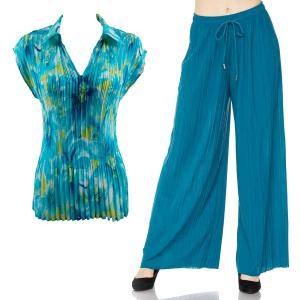 Wholesale  DAISIES AQUA Set - Georgete Mini Pleat with Collar - ONE SIZE FITS (S-L)