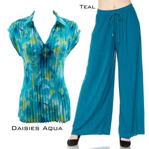 Sets-Georgette Mini Pleat Cap Sleeve GCWCL DAISIES AQUA Set - Georgete Mini Pleat with Collar - ONE SIZE FITS (S-L)